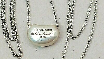 Vintage Authentic Elsa Peretti Tiffany & Co Sterling Silver Bean Slide Necklace