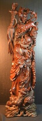 Antique Chinese Wood Sculpture of Scholar or Monk with Foo Dogs and Lions