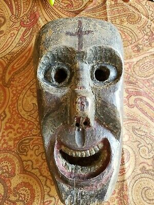 Antique African Tribal Mask with Christian Markings Rare