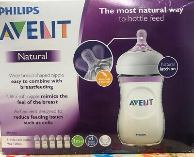 - NEW - Philips - SCF013/57 - Avent Natural Baby Bottle - Clear 9oz - (5 PACK)