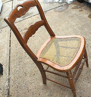 Antique Early Carved Back Solid Wood Cane Seat Bottom Chair Spindle lower braces