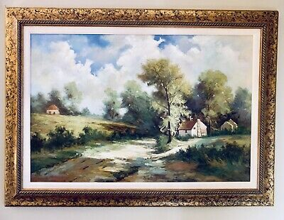 Original Oil On Canvas Painting Country Home Framed