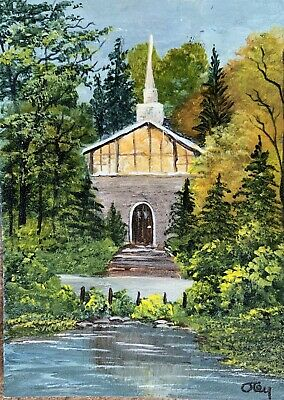 Aceo, acrylic,original, landscape, A Country Church  By Donna Otey