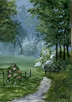 Aceo, acrylic,original, landscape, Wild Roses And Dogwoods By Donna Otey
