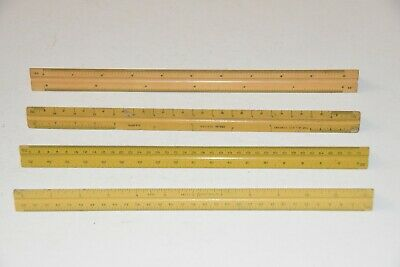 lot of 4 vintage old drafting tool 3 sided RULERS A Lietz Co Alco Dietzgen K&E
