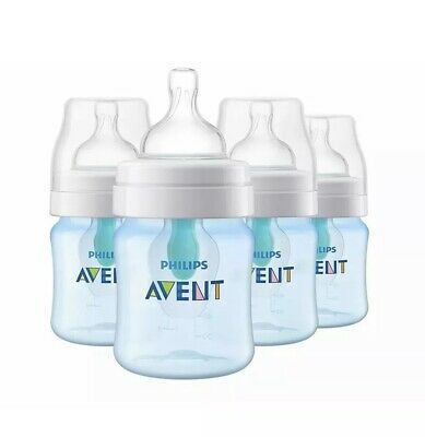 Philips Avent Anti-colic Baby Bottles with AirFree vent 4oz 4pk Blue, SCF402/44