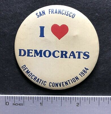 1984 San Francisco Democrat Convention, I Love Democrats Pinback Button 2 1/4""