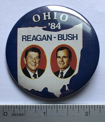 1984 Reagan, Bush Ohio ' 84 Pinback Button 2 1/8""