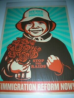 Fairey OBEY Poster Immigration Reform We Are Human SET 2009 Silk Screen Print