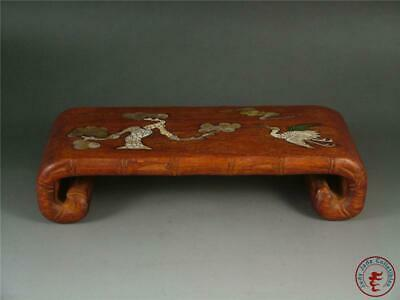 Old Chinese Rosewood Stand Carving Display Base CRANE & PINE MADE OF SHELL