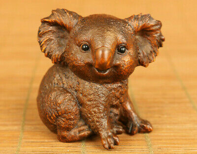 Asian old boxwood Handcarved koala statue figue netsuke table home decoration
