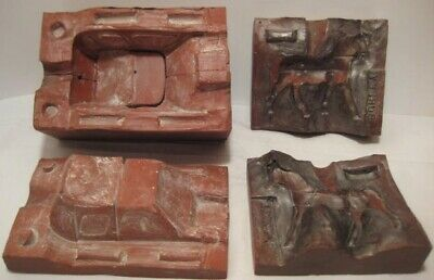 Old Unusual Rubber Molds of Horse Drawn Sleigh for Christmas Putz Village WOW!