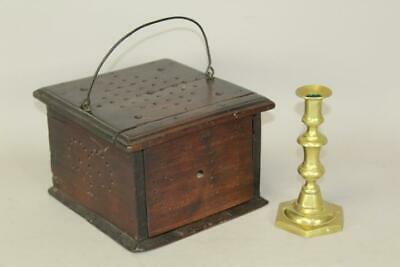 """A Very Rare 18Th C Liberty Tree Decorated Walnut Footwarmer With Initials """"c H"""""""