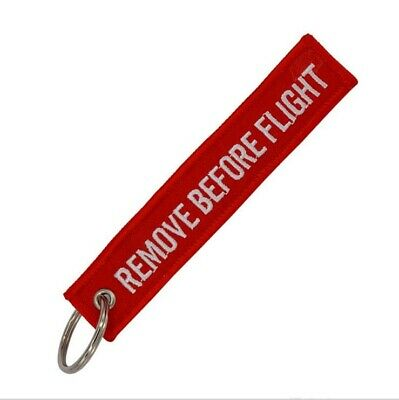 Fashion Embroidery Keychain Key Ring Key Chain Remove Before Flight Tag Red
