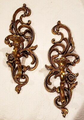 2 Vintage Gold Hollywood Regency Syroco Ornate Candle Holder Wall Sconces