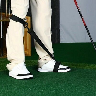 Golf Leg Power Correction Strap Swing Training Aid Foot Knee Band Black 1 Pc