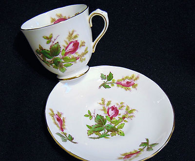 Vintage Royal Chelsea Moss Rose Fine Bone China Demitasse with Saucer  Brand New