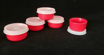 Tupperware Smidgets Containers Set of 5 - Mayo, Salad Dressing, Beads - RED
