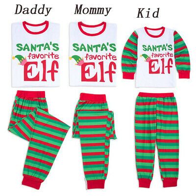 UK Family Matching Christmas Pyjamas PJS Set Elf Xmas Sleepwear Nightwear Casual