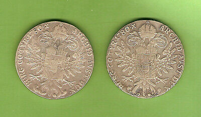 #C36. Two Modern  Re-Strikes  Of Marie  Theresa   1780  Silver  Thaler