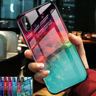 Gradient Marble Tempered Glass Phone Case Hard Hybrid Back Cover For Cellphone