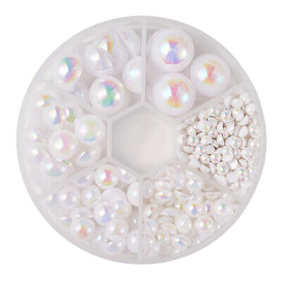 540pcs/Box Flat Back ABS Acrylic Pearl Cabochons Smooth Dome AB Colour 4~14mm