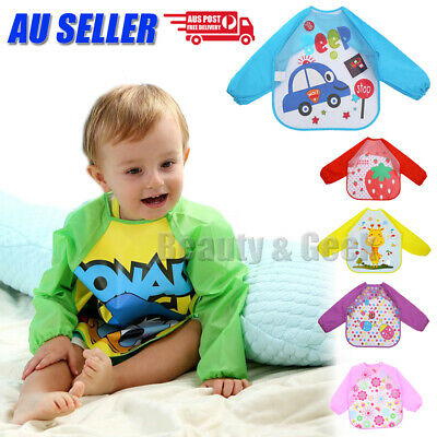 New Cartoon Baby Kids Toddler Waterproof Long Sleeve Apron Art Smock Feeding Bib