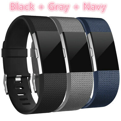 3 Pack Replacement Bands Black Gray Blue For fitbit charge 2 Buckle Wristband