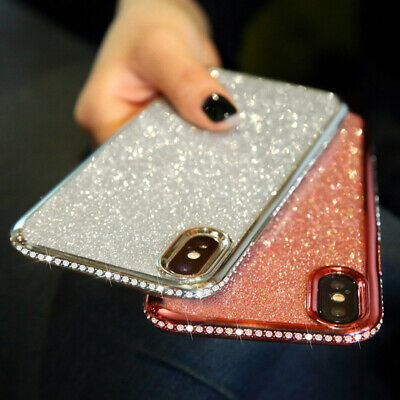 Bling Glitter Diamond Plating Soft Rubber Silicone Case Cover For Smart Phones