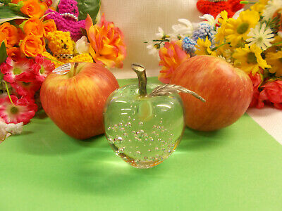 Cute Clear Crystal Glass Apple Paperweight With Brass Leaf And Stem Exc # 190