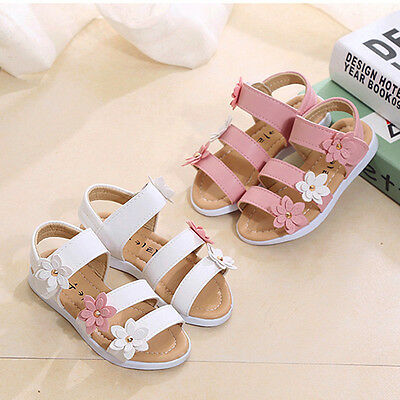 Casual Kids Girls Ankle Strap Flower Beach Sandals Soft Leather Comfy Flat Shoes