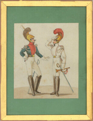 Framed 19th Century Watercolour - French Military Figures