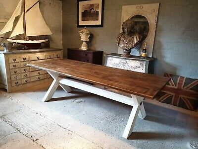 X-Frame with Reclaimed Wood Hand Made Dining Table 244cm x 100cm x75cm