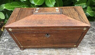 Old Antique Victorian Mother Of Pearl Inlay Wooden Casket Tea Caddy Box For TLC