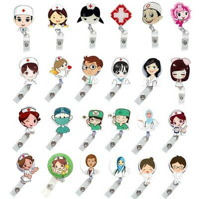 Retractable Nurse Doctor Exihibiton Clips Badge Holder Reel ID Name Cards Badge