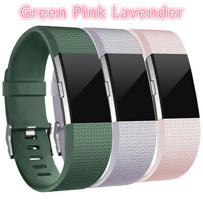 3 Pack Replacement Band Buckle Wristband Green Pink Lavender For fitbit charge 2