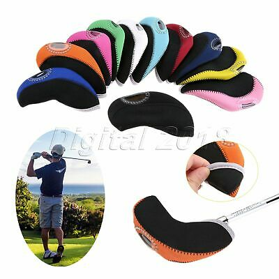10 Pieces Durable Neoprene Golf Club Head Cover Wedge Iron Protective Headcovers