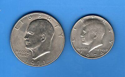 United States 1974 Kennedy Half Dollar & 1971 Eisenhower $1 coins