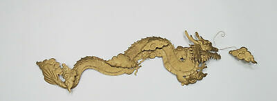 Vintage Embossed Brass Dragon Wall Decor Folds 58 inches Long