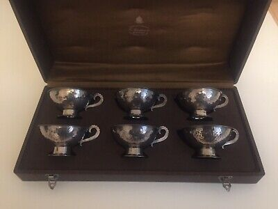 Boxed set of 6 Swedish silver coffee cups