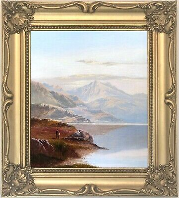 Loch Voil Scotland Antique Oil Painting by Charles Leslie (British, 1835-1890)