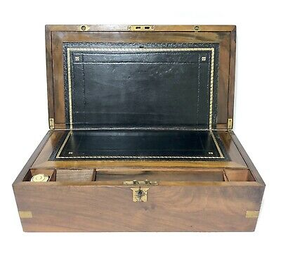 Antique Victorian Brass Bound Writing Slope Box with Key and Inkwell