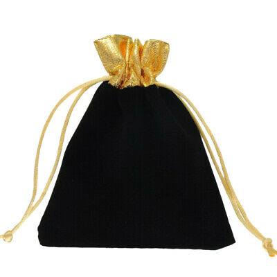 2xBlack Velvet Pouch Drawstring Bag Wedding Favours Gift Party Jewellery Packing