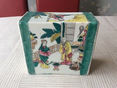 Antique Chinese Hand Painted Porcelain Court Scenes  Opium Pillow.