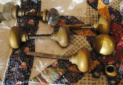 Lot Five 5 Vintage Residential Interior Door Brass Two 2 Glass Knob Handle Décor