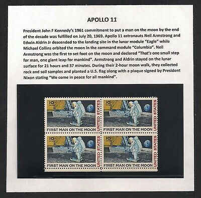 APOLLO 11 - FIRST MAN ON THE MOON - BLOCK OF 4 1969 STAMPS - 50th ANNIVERSARY