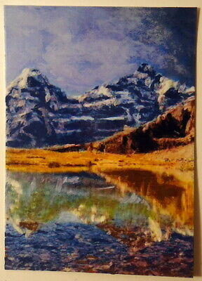High Mountain Lake ACEO Original Landscape PAINTING by Leslie Popp