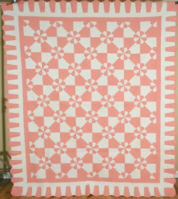 Large WELL QUILTED Vintage 30's Hearts & Gizzards Antique Quilt ~Nice Border!