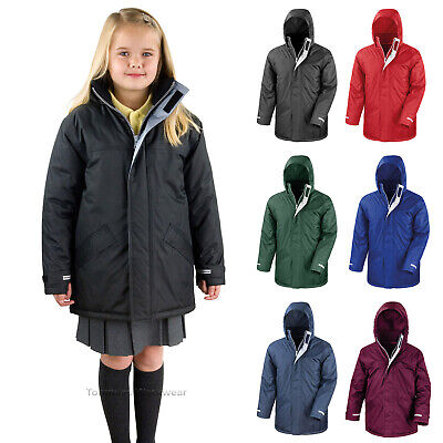 Childrens Waterproof School Coat Jacket Parka Warm Boys Girls Kids Winter Warm