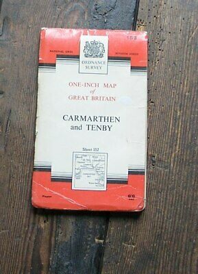Old Os Map Carmarthen & Tenby Wales 1966 1 Inch  Ordnance Survey Map 152